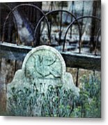 Gravestone With Dove Carved  Metal Print