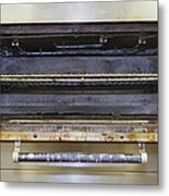 Greasy Electric Stove Oven Door Open Metal Print by Douglas Orton