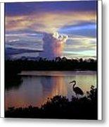 Great Blue Heron Sunset Metal Print