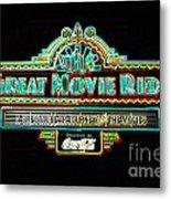 Great Movie Ride Neon Sign Hollywood Studios Walt Disney World Prints Glowing Edges Metal Print