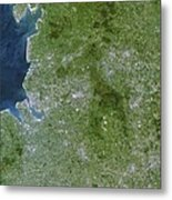 Greater Manchester, Satellite Image Metal Print by Planetobserver
