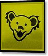 Greatful Dead Dancing Bear In Yellow Metal Print