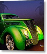 Green 37 Ford Hot Rod Decked Out For A Tropical Saint Patrick Day In South Texas Metal Print