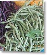 Green And Purple Beans Metal Print