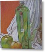 Green Bottle And Fruit. Metal Print