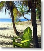 Green Chair On The Beach Metal Print