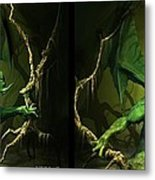 Green Dragon - Gently Cross Your Eyes And Focus On The Middle Image Metal Print
