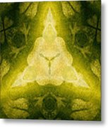 Green Floral Triangle Metal Print by Linda Phelps