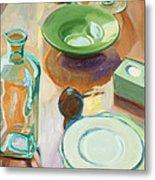Green Glass And Plates Metal Print