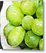 Green Grapes On A Plate Metal Print