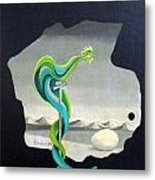 Green Rooster Call 2 In Surrealistic Frame Background Blue Tail Feathers Mountains Landscape And Egg Metal Print