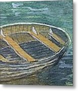 Green Sea My Boat And Me Metal Print