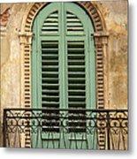 Green Shutters And Balcony In Verona Metal Print