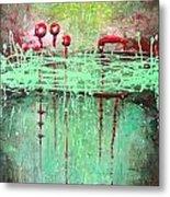 Green Splashes Metal Print