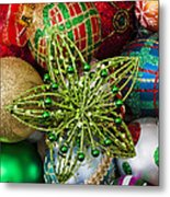 Green Star Christmas Ornament Metal Print