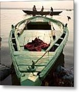 Green Stationary Boat At Waters Edge Metal Print