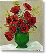 Green Vase Red Poppies Metal Print