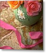 Green Vase With Roses Metal Print