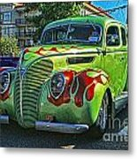 Green With Flames Hdr Metal Print