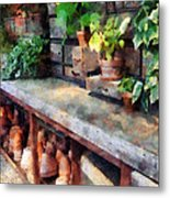Greenhouse With Flowerpots Metal Print