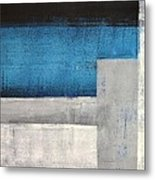 Straight Forward - Teal And Grey Abstract Art Painting Metal Print