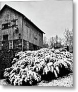 Grist Mill In Winter - Hdr Metal Print