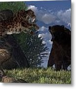Grizzly Vs. Saber-tooth Metal Print