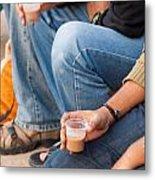 Group Of Teenagers Sitting And Drinking Tea Metal Print