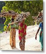 Group Of Women Carrying Firewood Near Metal Print