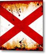 Grunge Style Alabama Flag Metal Print