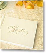 Guestbook On A Table Metal Print by Ned Frisk