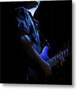 Guitarist In Blue Metal Print
