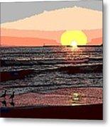 Gulls Enjoying Beach At Sunset Metal Print