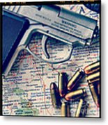 Gun And Bullets On Map Metal Print