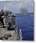 Gunner Fires A Mark 38 Machine Gun Metal Print