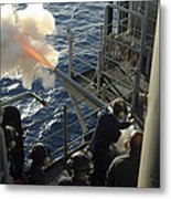 Gunners Mates Fire The .40mm Saluting Metal Print by Stocktrek Images