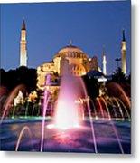 Hagia Sophia At Night Metal Print