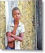 Haitien Boy Leaning On Wall Metal Print