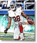 Hakeem Nicks - Sports - Football Metal Print by Paul Ward
