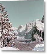 Half Dome In The Snow Metal Print
