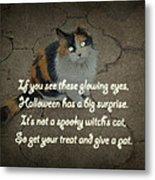 Halloween Calico Cat And Poem Greeting Card Metal Print