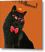 Halloween Card - Black Cat Ready To Party Metal Print