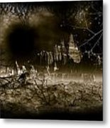 Halloween Castle Mountain Metal Print