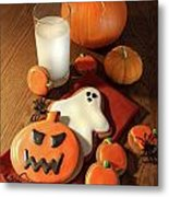 Halloween Cookies With A Glass Of Milk Metal Print