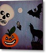 Halloween Night Original Acrylic Painting Placemat Metal Print
