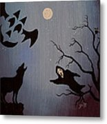 Halloween Night Party Original Painting Placemat Doormat Metal Print