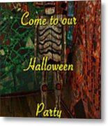 Halloween Party Invitation - Skeleton Metal Print
