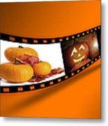 Halloween Pumpkin Film Strip Metal Print by Amanda Elwell