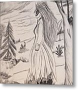 Halloween Witch Walk Metal Print