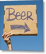 Hand Holding Up Makeshift 'beer' Sign Metal Print